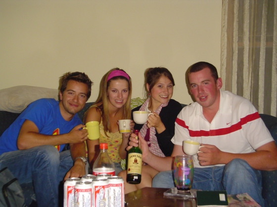 """Irish Tea Parties"" with Marek, Jenny, and Cathal. Read: Drinking Whiskey from tea cups"