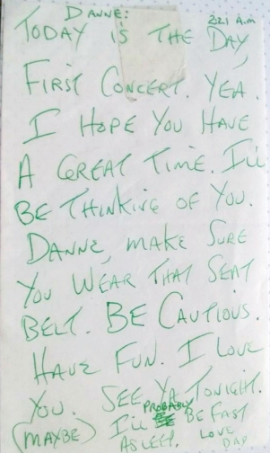 The note my dad left me the morning of, awww...