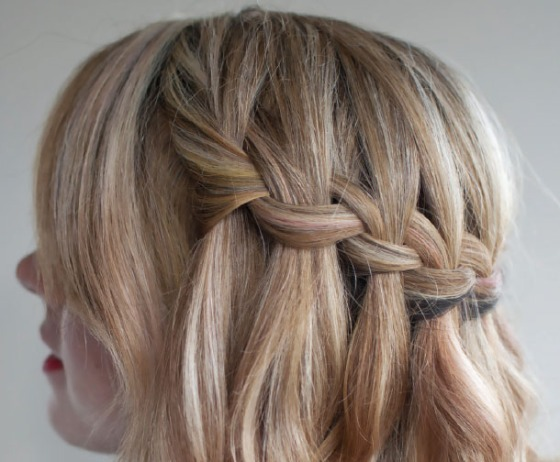 The aforementioned Waterfall Braid, Christina's favorite hairstyle