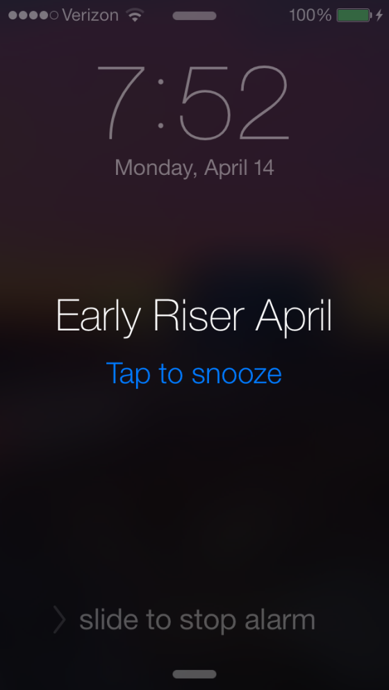 This month's custom alarm (those extra 8 minutes are for snoozing)